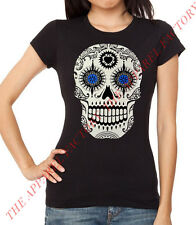 New Junior's Day of the Dead Sugar Skull T Shirt Small-3XL mexican tee death