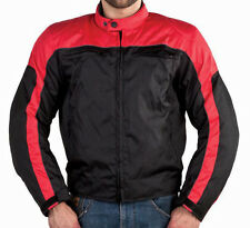MOTORCYCLE JACKET WITH REMOVABLE CERTIFIED ARMOR RED & BLACK TEXTILE MEN'S 567/R
