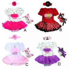 Baby Girl 1st Birthday Flower Cake Romper Dress Crib Shoes Party Dress 6-18M