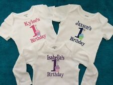 Embroidered Personalized Baby Girl Boy First 1 Birthday Bodysuit Onesie Cupcake
