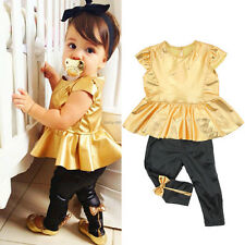Baby Girls Kids Gold Skirt Tops + Pants Casual Clothes Sets Suit Outfits 2PCS