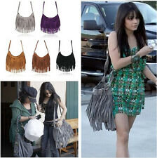 Celebrity Tassel Suede Fringe Shoulder Messenger Handbag Cross Body Bag NEW
