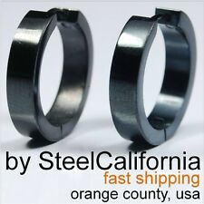 Large Black Hoop Stainless Steel Earrings for Men  (Size L, XL)