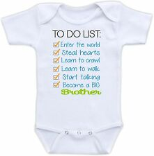 To Do List Brother Cute Baby Onesie Funny Onsie Clothing Shower Gift Unique Cool