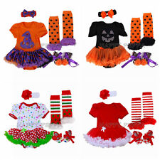 Newborn Infant Baby Girl 4pcs Romper Sets Halloween Christmas Party Dress NB-12M
