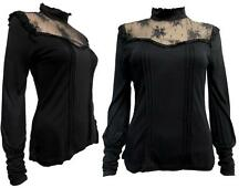 Romantic Victorian Goth Steampunk High Neck Lace Frilled Long Sleeve Black Top