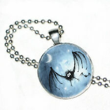 "Halloween Black Bat on Blue Night Sky Pendant Necklace with 24"" Ball Chain"
