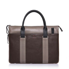 Woven Genuine Leather Laptop Business Mens Briefcase Shoulder Hand Bag