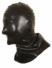 NEW Black Latex Rubber Shoulder Length Hangmans Mask with Nose holes only S M L