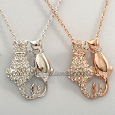 A1-P350 Fashion 'Cats In Love' Necklace Pendant 18KGP use Swarovski Crystal