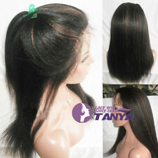 """12""""~16"""" 100% india remay human hair beauty Kinky Straight  front lace wig"""