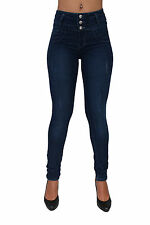 High Waist Butt Lift Colombian Style Skinny Leg Jeans By Diamante DJ-M1099NVY