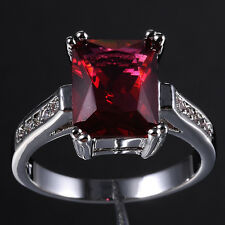 Size 6-9 Fancy Jewelry Lady's 10KT White Gold Filled Red CZ Wedding Ring Gift