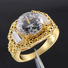 Size 9-11 Deluxe NEW Men's 12ct Round White Sapphire 18K Yellow Gold Filled Ring