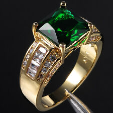Size 9-13 Vintage Jewelry Men's Huge 10KT Yellow Gold Filled Emerald Ring Gift