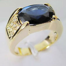 Size 9-11 Eternity Jewelry Mens 10KT Gold Filled Sapphire CZ Band Solitaire Ring