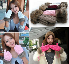 Fashion Lovely Women Ladies Girls Warm Fur Knitted Fleece Lined Gloves Mittens