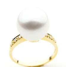 SR034 (AAA 13mm Australian south sea White pearl Diamond Ring 18k gold)