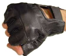 Fingerless Leather Gloves 4 Weight Training Cycling Bike Wheelchair GYM Unisex