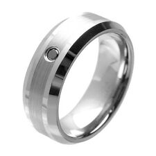 Tungsten Ring with  Beveled Edges and Black  Diamond, Pesonalized Tungsten Band,