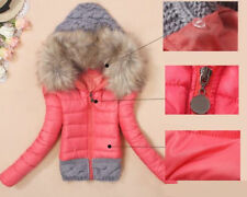 Women Fur Collar Hooded Thick Winter Down Cotton Coat Slim Short Jacket