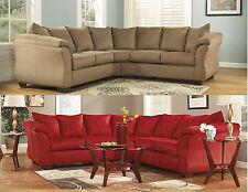 NEW ASHLEY DARCY SIGNATURE FABRIC UPHOLSTERED SECTIONAL SOFA IN MOCHA OR SALSA