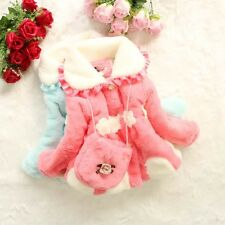 Baby Toddlers Girls Faux Fur Fleece Lined Coat Kids Winter Warm Jacket Outwear
