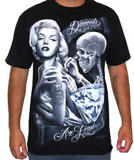 DGA Men's Diamonds T Shirt Black   gangster mexican latino chicano marilyn