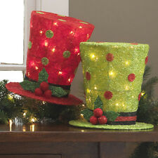 """Raz Imports 10"""" Lighted Christmas Top Hat Tree Topper Red Green Decoration"""