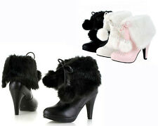 New Arrival Women's Mid Calf Boots Lovely Hairy High Heel Shoes UK All Size B753