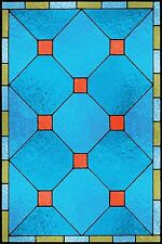 Faux stained glass window cling diamond pattern sunblock privacy