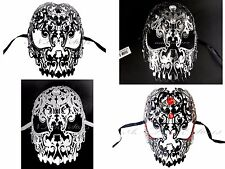 Skull Light Metal Laser Cut Diamond Rhinestone Venetian Masquerade Mask
