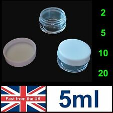 5ml Jars Clear Plastic White Screw Top - Empty 5g Pot Container Cosmetics Small