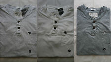 NWT Abercrombie & Fitch Henley Tee T Shirt Solid Muscle Fit Mens Size XL&XXL
