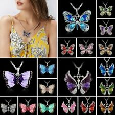 Women Fashion Jewelry Enamel Butterfly Crystal Silver Pendant Necklace Chain
