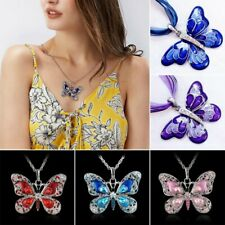 80s Women Men Fashion Butterfly Charms Sweater Long Chain Pendant Necklace Gift