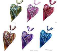 Retro Crystal Heart Leaf Lampwork Glass Pendant Sweater Chain Bib Necklace Gift