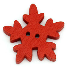Wholesale lots Red Christmas Snowflower Wooden Sewing Buttons 2 Holes