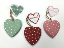 NEW POLKADOT WOODEN HANGING HEARTS - 3 COLOURS