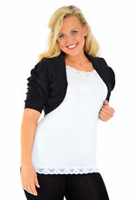Nouvelle Womens Plus Size Bolero Shrug Collarless 3/4 Sleeve Fitted Cotton