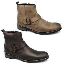 Ikon EVANS Mens Oily Pull Up Leather Comfy Casual Buckle Zip Ankle Biker Boots