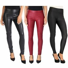 Womens Wet Look PU Leather Stretch Skinny Sexy Jeans Trousers Pants Jeggings