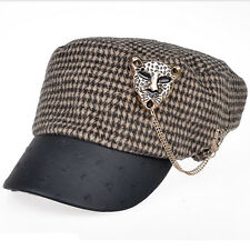 Women Casual Vintage Stylish BAKERS BOY CAP Hats Leopard Chain Decoration 623