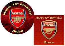"""Arsenal Superior Edible Icing Cake Topper 7.5"""" Round, Square or Cupcake"""