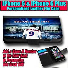 PERSONALISED BOLTON WANDERERS UNOFFICIAL iPHONE 6 & 6 PLUS LEATHER FLIP CASE