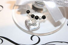Wedding Wine Glass Charms -Top Table - Black - Choice of Charms/Colours