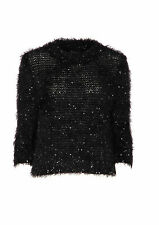 At Republic Beautiful Black eyelash Sequin Jumper 3/4 length sleeves size 8 + 10