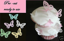 12 edible butterflies (style 1), cake decorations pink,blue,white,green,yellow