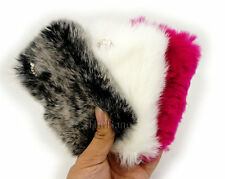 Cute Warm Faux Fur Soft Bling Diamond Bow Back Cover Case For iPhone 6 4 4S 5 5S