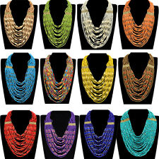 Fashion Multilayer Chain Colorized Handmade Resin Beads Choker Pendant Necklace